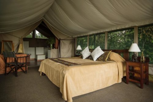 Inside view of a safari tent at Governors Camp