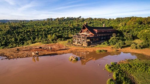 A view on the Ark Lodge in Aberdare National Park, Kenya