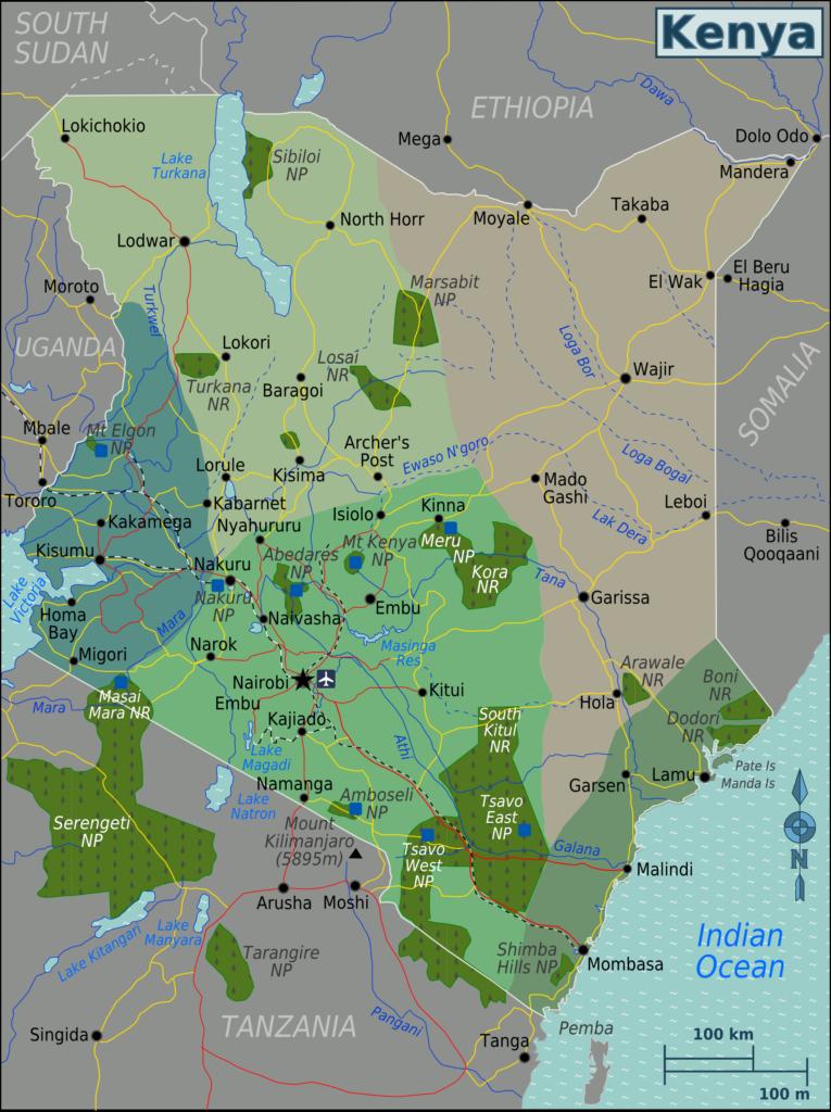 A map of Kenya showing Kenya's national parks