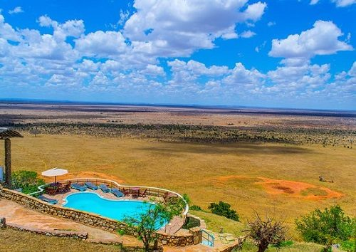 A view over Tsavo East's landscape from Voi Safari Lodge
